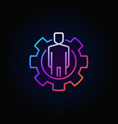 colorful man in cog icon vector image