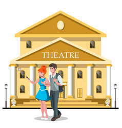 couple takes a photo near the theater vector image vector image