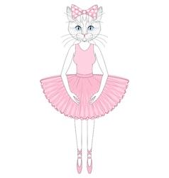 cute cat in dress like ballerina Hand drawn vector image vector image