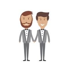 Gay male couple wedding card vector image