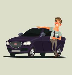 happy smiling car dealer seller man character vector image vector image