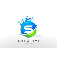 s letter logo blue green splash design vector image