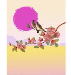 sakura Evening in the garden blooming cherry vector image vector image