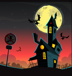 scary house - halloween background vector image vector image