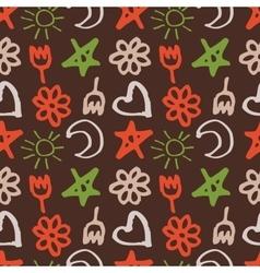 seamless pattern with stars hearts sun moon vector image