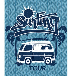 Surfing tour van print on a bamboo background vector image vector image
