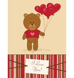 Teddy bear with heart balloons vector