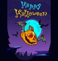 a postcard of cartoon halloween flying pumpkin vector image vector image