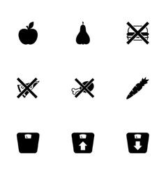 black diet icon set vector image