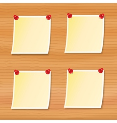 blank notes pinned to wood vector image vector image