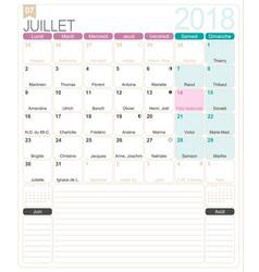 french calendar 2018 vector image