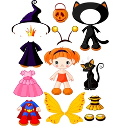 halloween doll with dresses vector image vector image