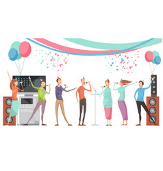 karaoke party flat vector image vector image