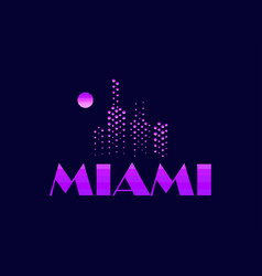 miami emblem in the style of the 80s points vector image vector image
