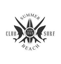 summer beach surf club logo template black and vector image vector image