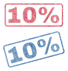 10 percent textile stamps vector