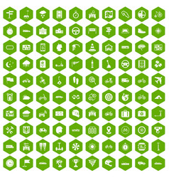 100 ride icons hexagon green vector