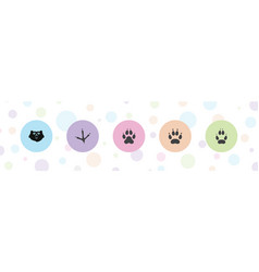 5 paw icons vector