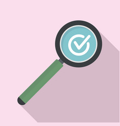 Approved search icon flat style vector