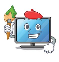 Artist lcd tv cartoon in living room vector