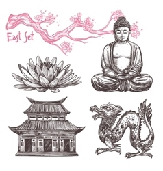 Asian Sketch Set vector