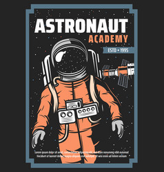 Astronaut space station retro poster astronomy vector