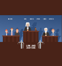 Banner web law and justice court with jury vector