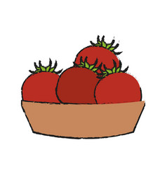 basket with tomatoes vector image