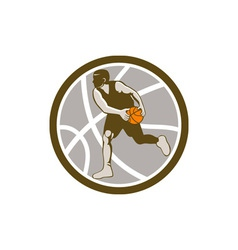 Basketball Player Dribbling Ball Circle Retro vector