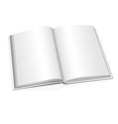 Blank opened realistic book on white vector