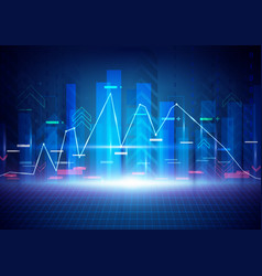 Blue abstract technology and stock market concept vector