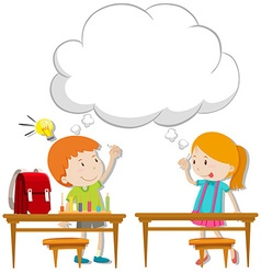 Boy and girl with thinking bubble vector