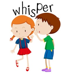 Boy whispering to the girl vector