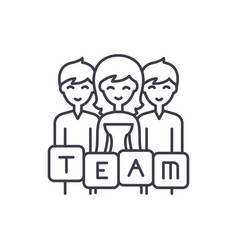 business team line icon concept business team vector image