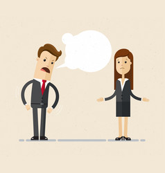 businessman boss shouts at the woman employee vector image