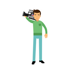 Cameraman character standing and holding vector