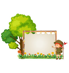 Camping boy on wooden banner vector