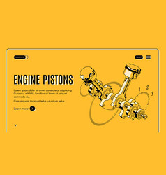 Car engine pistons repair shop website vector