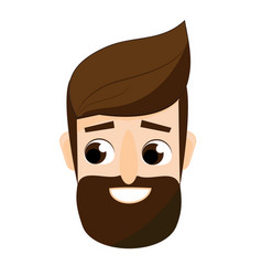 cartoon bearded man face friendly hipster male vector image