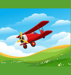 cartoon flying airplane vector image