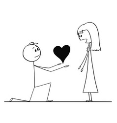 Cartoon man on knees giving heart to his vector