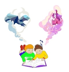 Children lying and reading book Kids imagination vector image