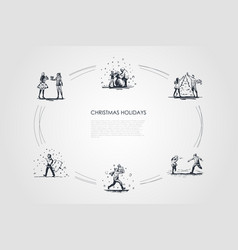 christmas holidays - people decorating vector image