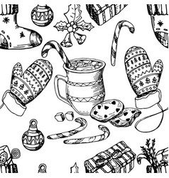 christmas seamless pattern texture hand drawing vector image