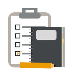 clipboard and notebook with pencil vector image