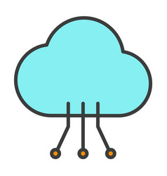cloud technology line icon with circuit pattern vector image