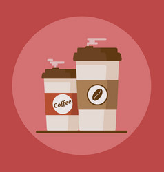 coffee cup with coffee beans on red background vector image