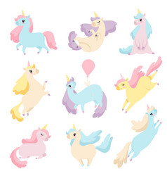 collection of lovely unicorns cute magic fantasy vector image
