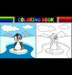 coloring book with penguin bird vector image