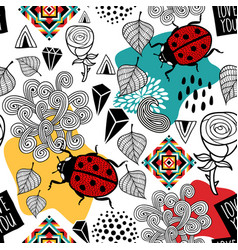 Creative pattern with insects and nature vector